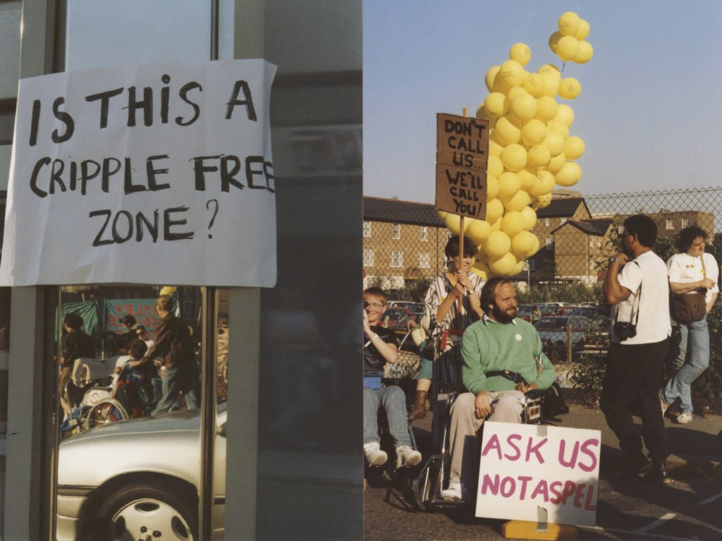 "Colour image of 1990 Telethon protest outside LWT TV with placards reading ""Is this a cripple free zone?"" ""Don't call us, we'll call you,"" and ""ask us, not Aspel."" Reverse of image gives further detail and attributes image to Liz Crow."
