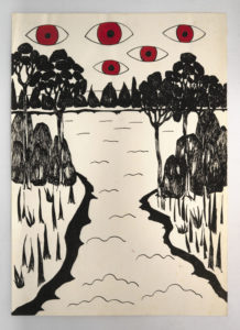 Painting by Rachel Gadsden which has large red eyes appearing in the sky above a natural landscape.