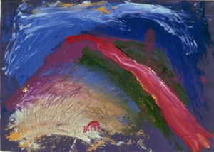 Colourful abstract painting with strokes of pink, green, purple and light brown against a blue background